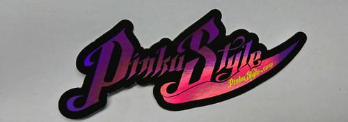 "Hologram Pinku Style Sticker  3"" x  1.23"" x 2 set"