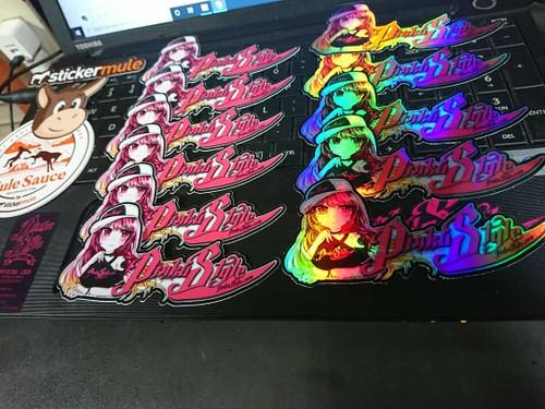 """Pinku Style Momo Chan Matte Die Cut Sticker  5"""" x 2.45"""" x 2 set"""