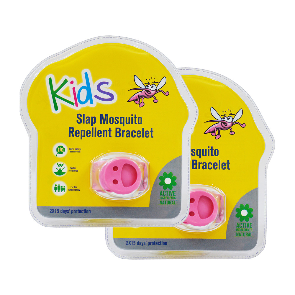Slap Mosquito Repellent Bracelets w/ Two 15 Day Refill Pellets - 2 Pack
