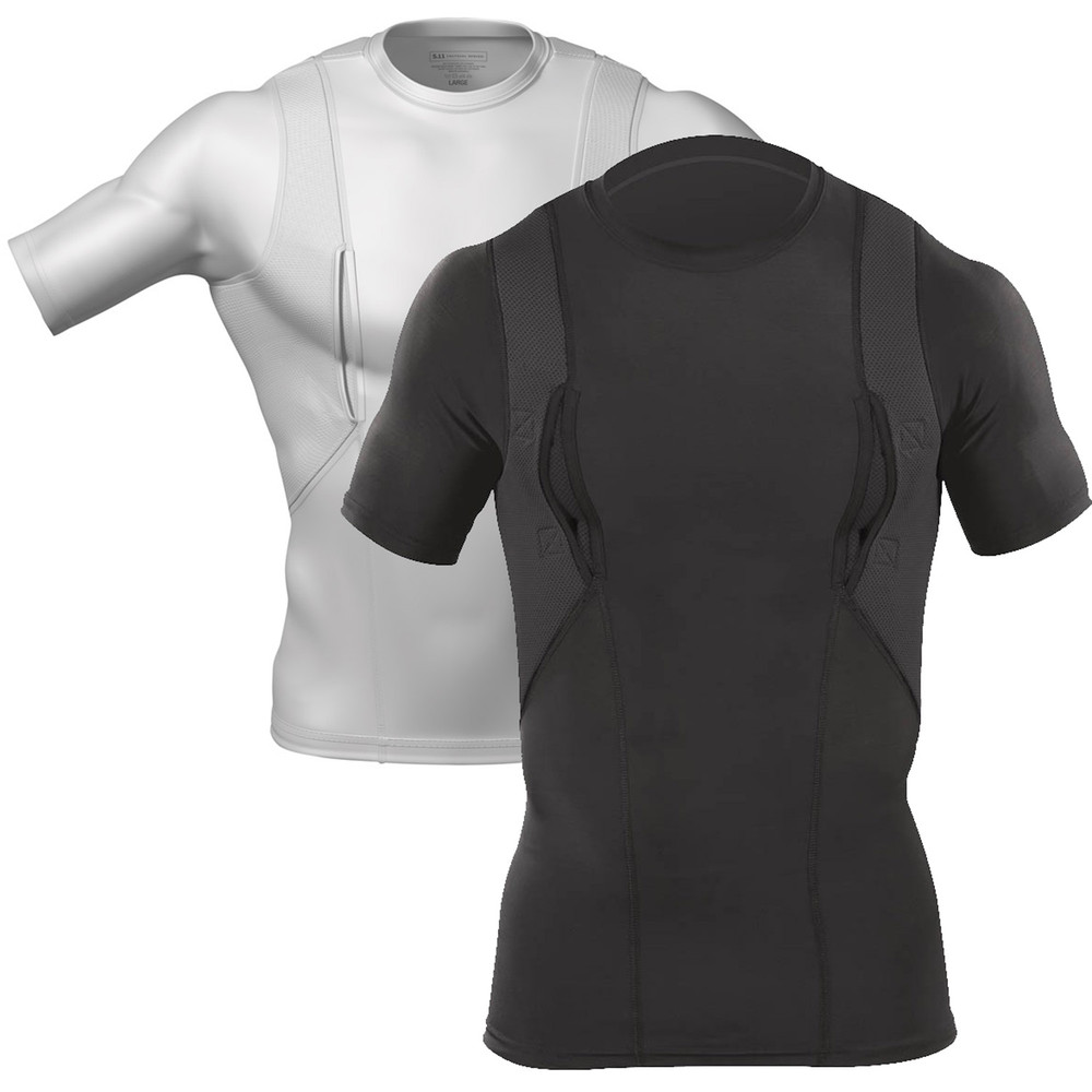 5.11 Tactical S/S Holster Shirt with Tactical Pocket White/Black All Sizes 40011