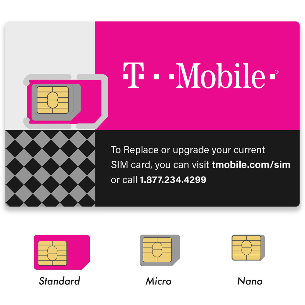2 Pack T-Mobile Triple Cut 4G LTE Sim Card New Unactivate, All Size in One (3-in-1)