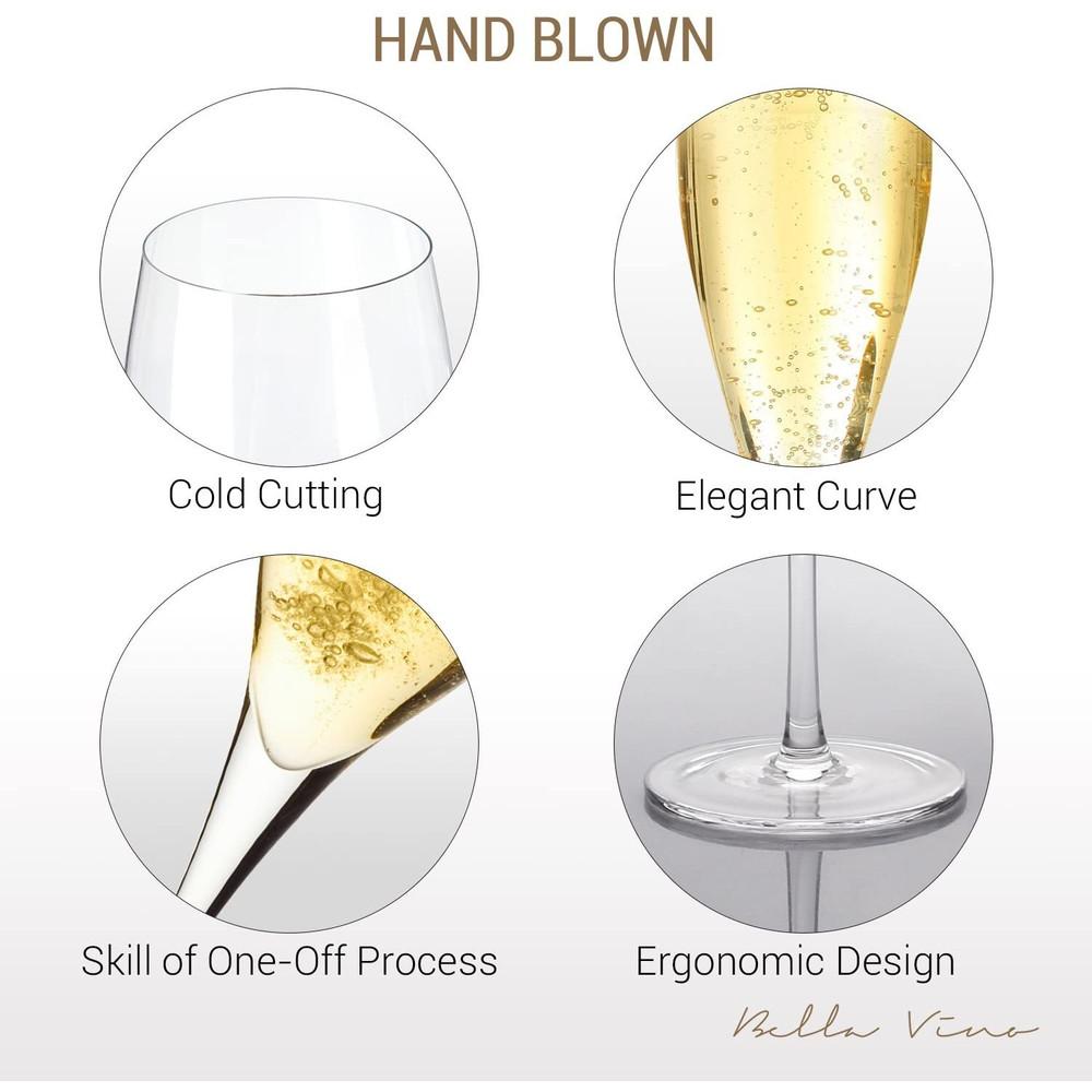 "Bella Vino 10.5"", 7 Oz, Set of 2 Hand Premium Blown Crystal Champagne Flutes"