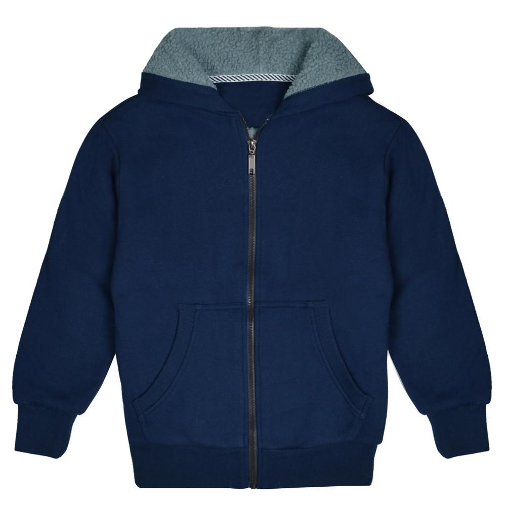 Kids Sherpa Lined Fleece Full Zip Up Hooded Sweatshirt Jacket