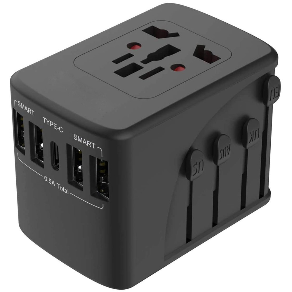 Travel Adapter 2000W Universal Plug Adapter for Worldwide Travel 4 USB Ports