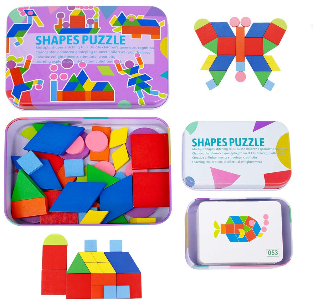 Wooden Jigsaw Puzzle Toys for 2-9 Year Old Kids Sorting and Stacking Games
