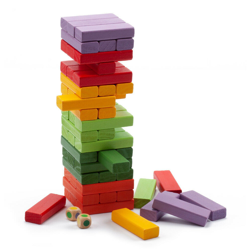 Multi-Color Tumbling Wood Building Blocks Stacking Game 54-Piece Tumble