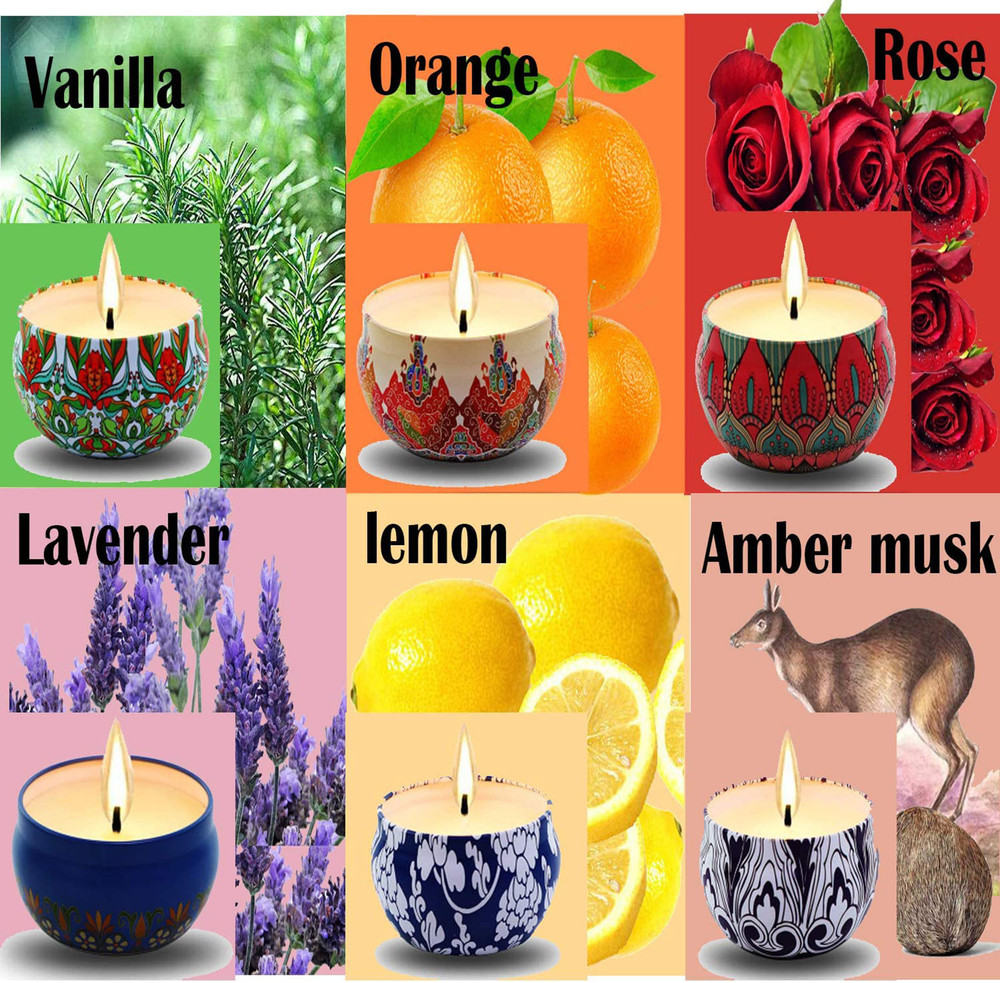 Scented Candles, 6-Pack Vanilla Lavender Rose Orange Lemon Amber Musk