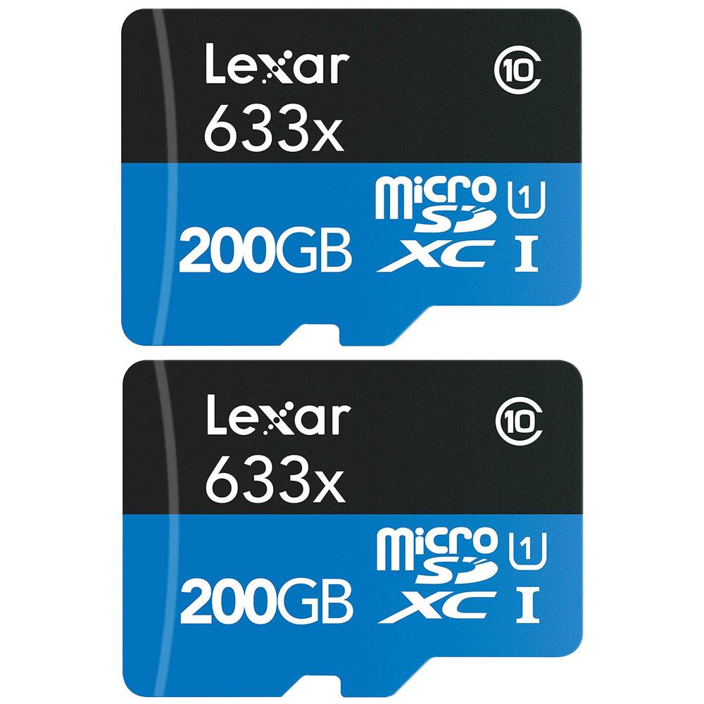 Refurbished 2-Pack Lexar High-Performance microSDXC 633x 200GB Class 10 UHS-I Memory Card