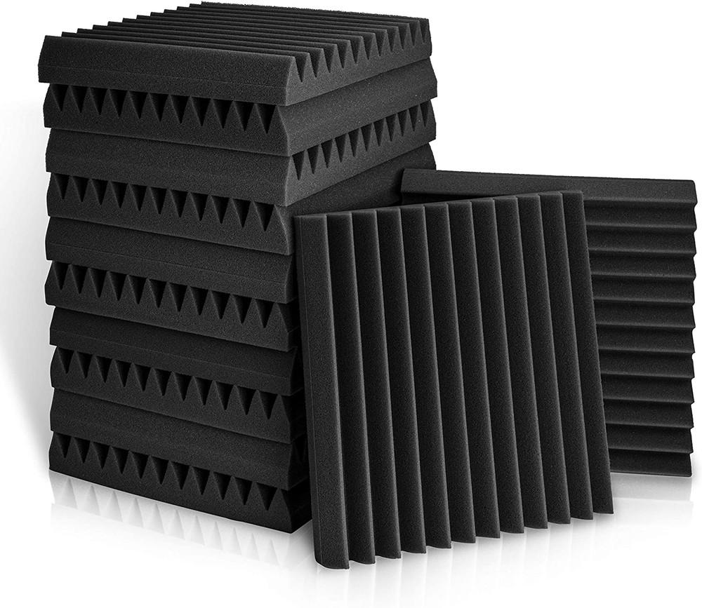 Acoustic Foam Panels Wedge Tiles For Studio etc Set of 12 - Black or Black-Red