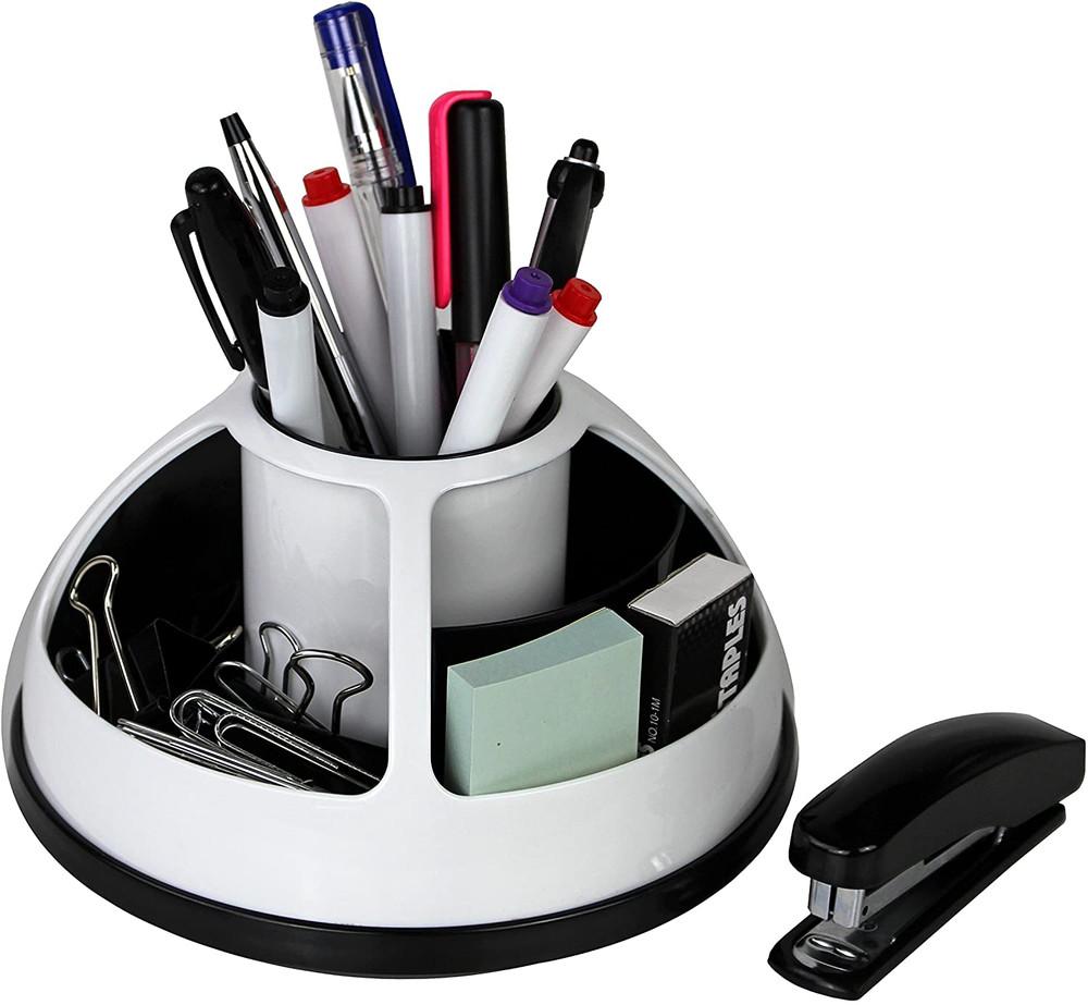 Organizer Office Desk Cosmetic Storage Rotating Caddy Multiple Holder - Wht & Bk