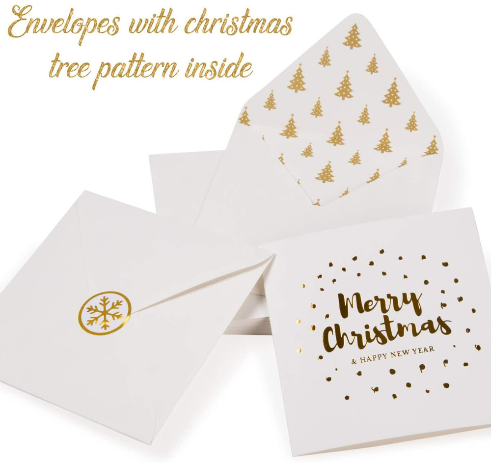 """Christmas Cards Envelopes and Stickers 20 Assorted 5"""" x 5"""" Gold Foil Cards"""