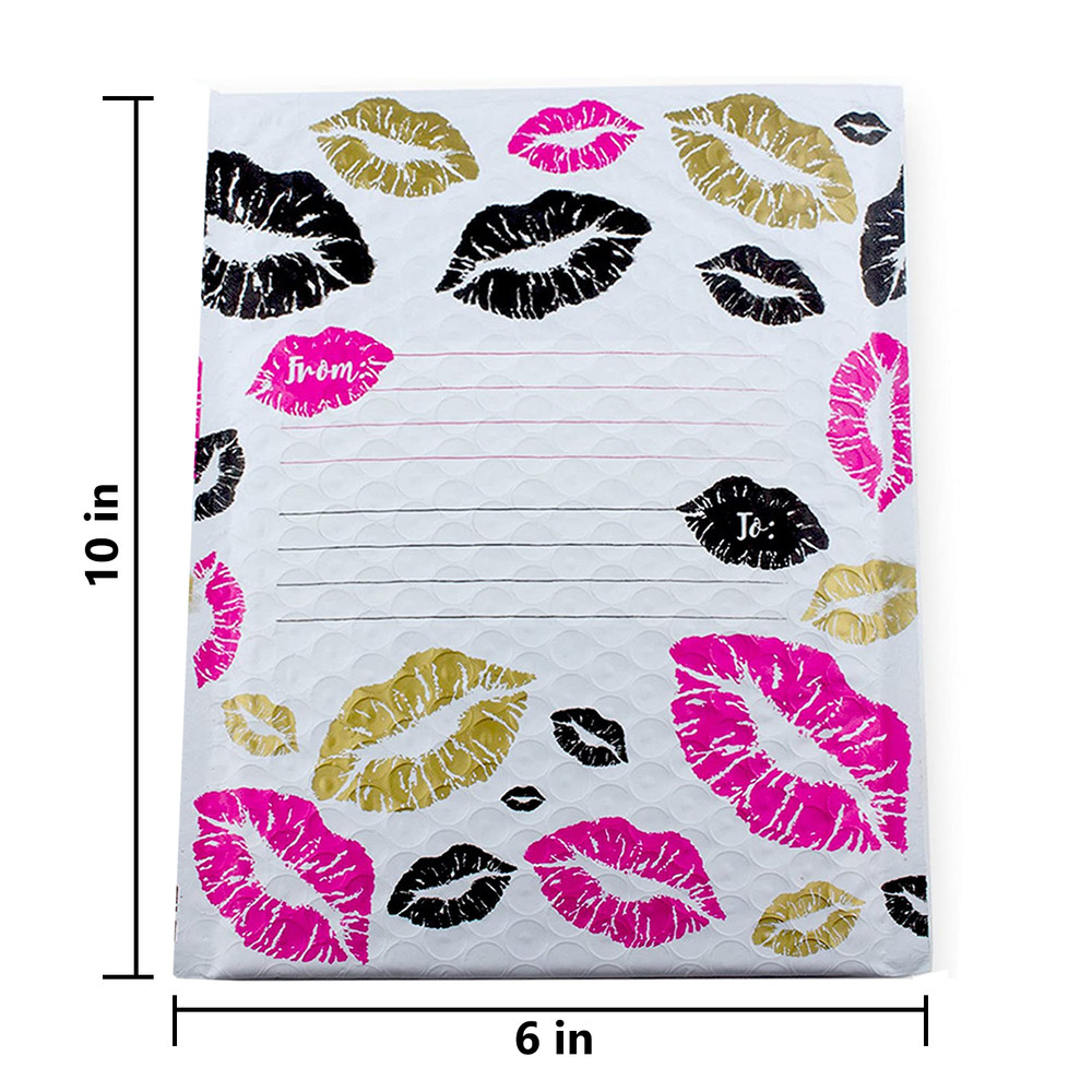6x10-4x8 Inch Pack of 25 or 60 Kisses Poly Bubble Mailers Labels and 30 Stickers
