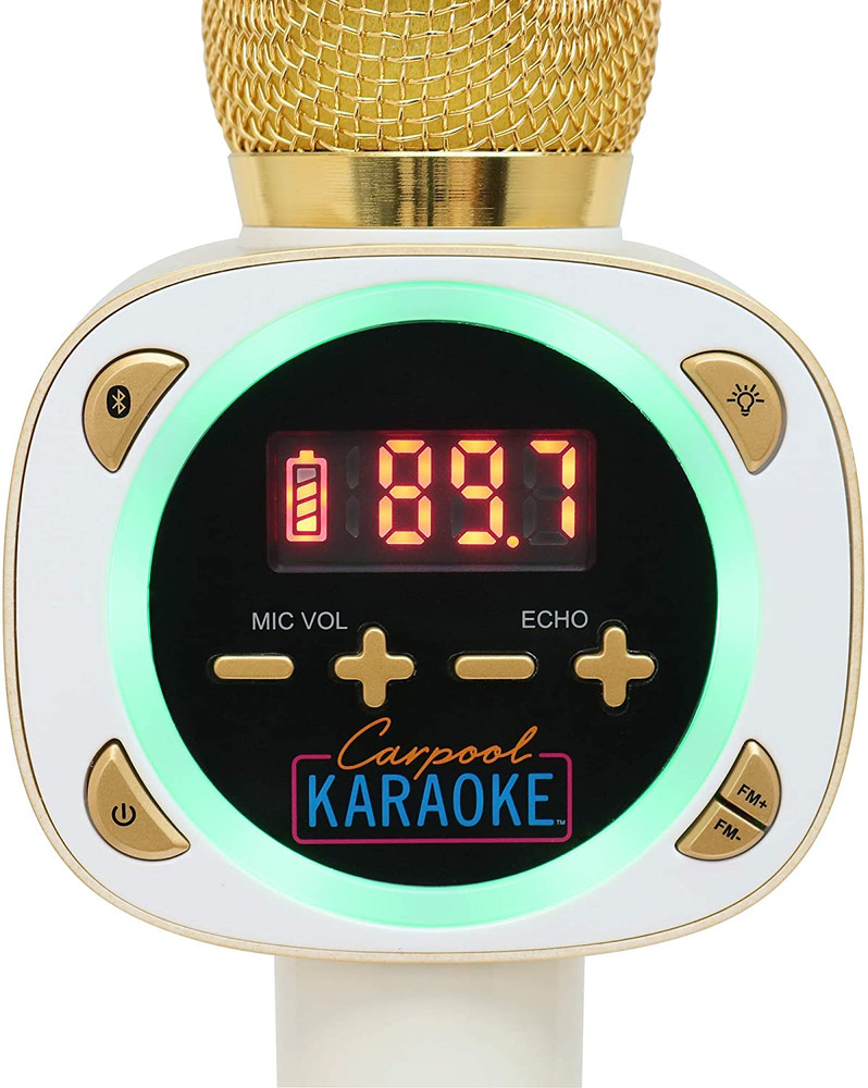 Refurbished Singing Machine, Carpool Karaoke, Bluetooth Microphone for Cars, White-Refurbish