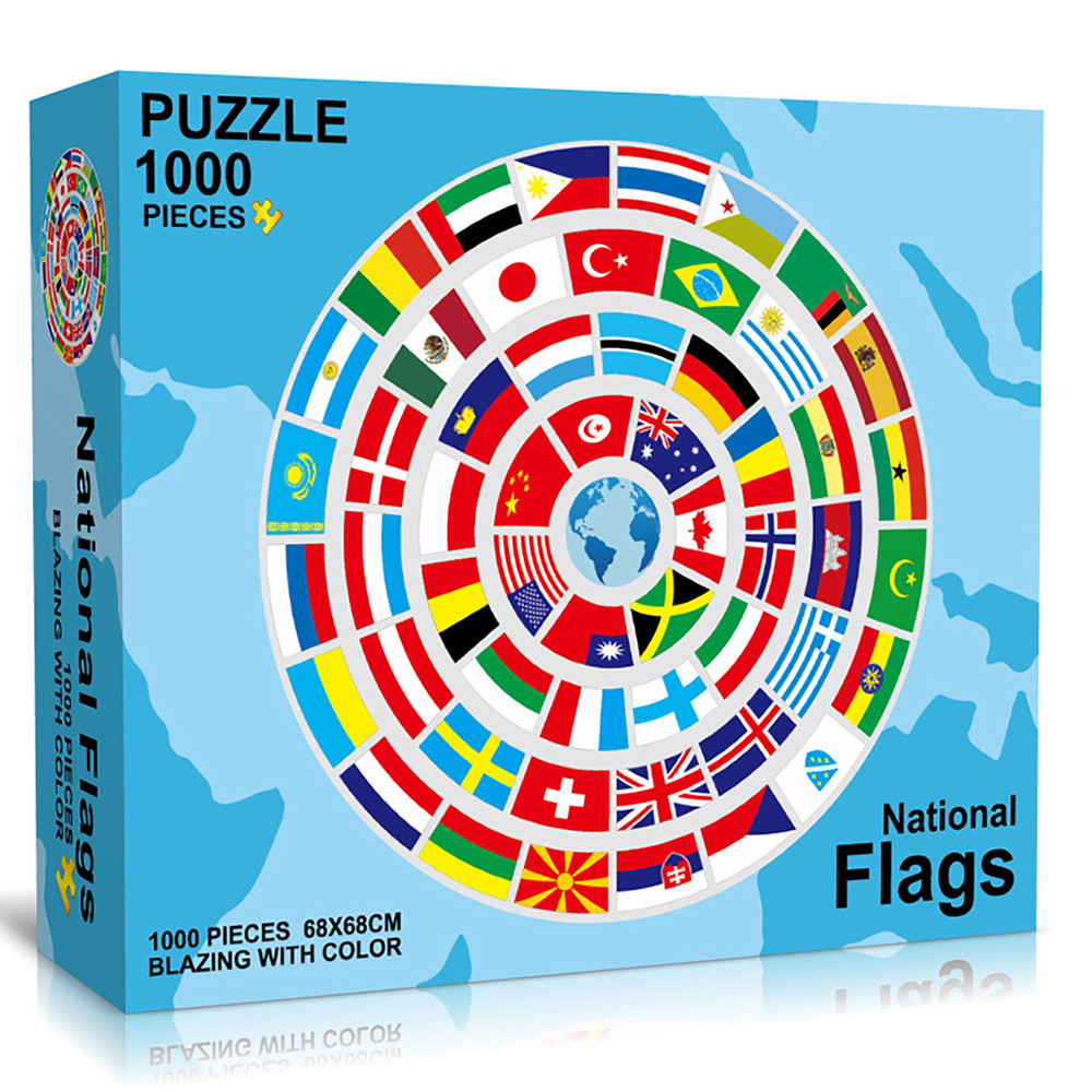 1000 Piece Jigsaw Puzzle for Teenagers and Adults Large Round Puzzle Game Unique Home Decorations and Gifts National Flag / Delicious Donuts 26.7″ x 26.7″ Age 12 + Year Old