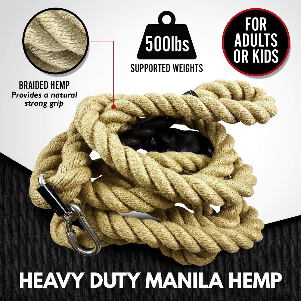 Gym Climbing Rope with Mounting Hardware for Fitness Home Gym Workouts Strength Training Indoor and outdoor - Available 15/20/25 Feet