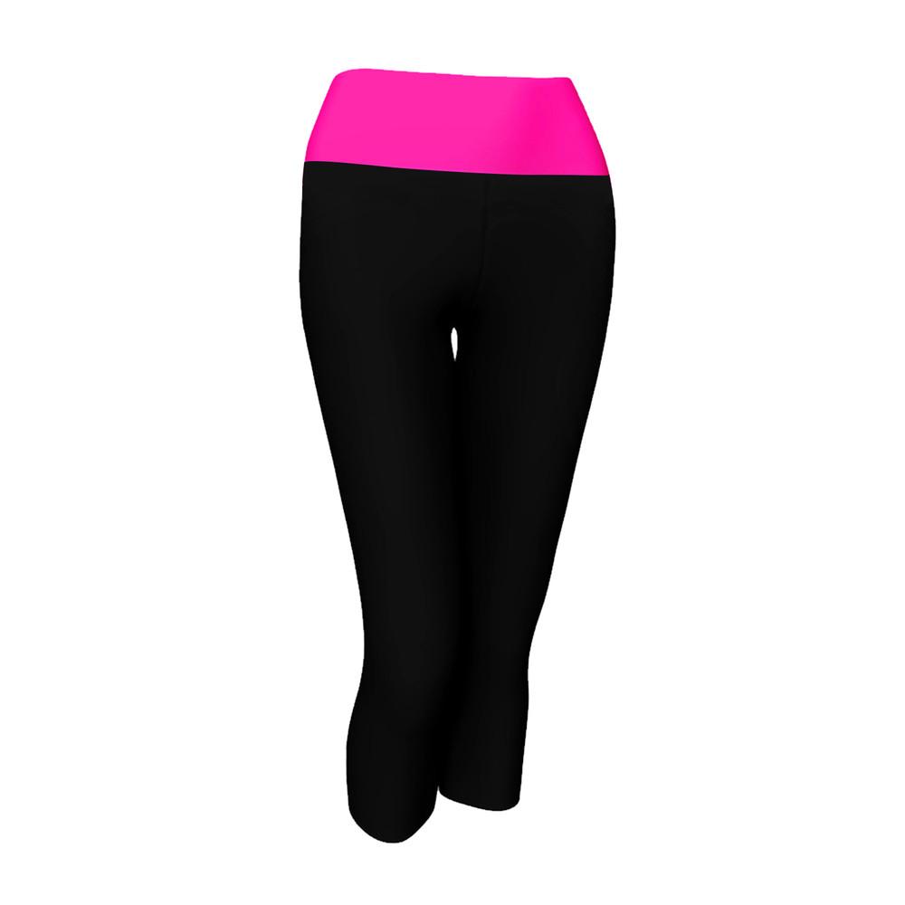 Alta Women's Two Tone Foldover Yoga Capri Cropped Workout Leggings