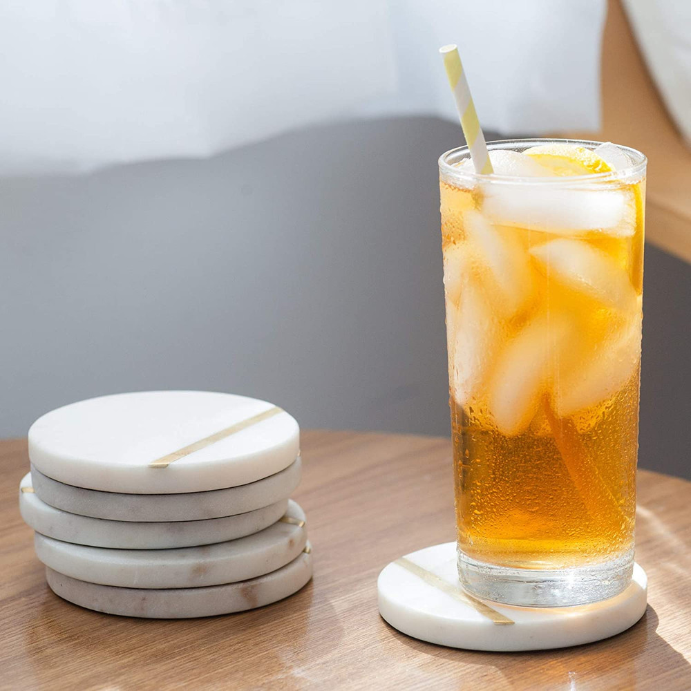 """White Marble Coasters with Gold Brass Inlay for Drinks Handcrafted Modern Coasters 6 Pack 4"""" Wide Drink Coasters"""
