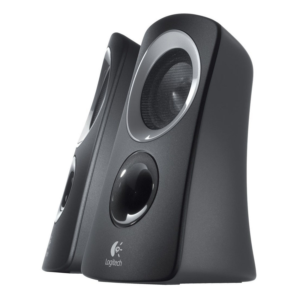 Refurbished Logitech Z313 3 Piece 2.1 Channel Multimedia Speaker System - Black Silver