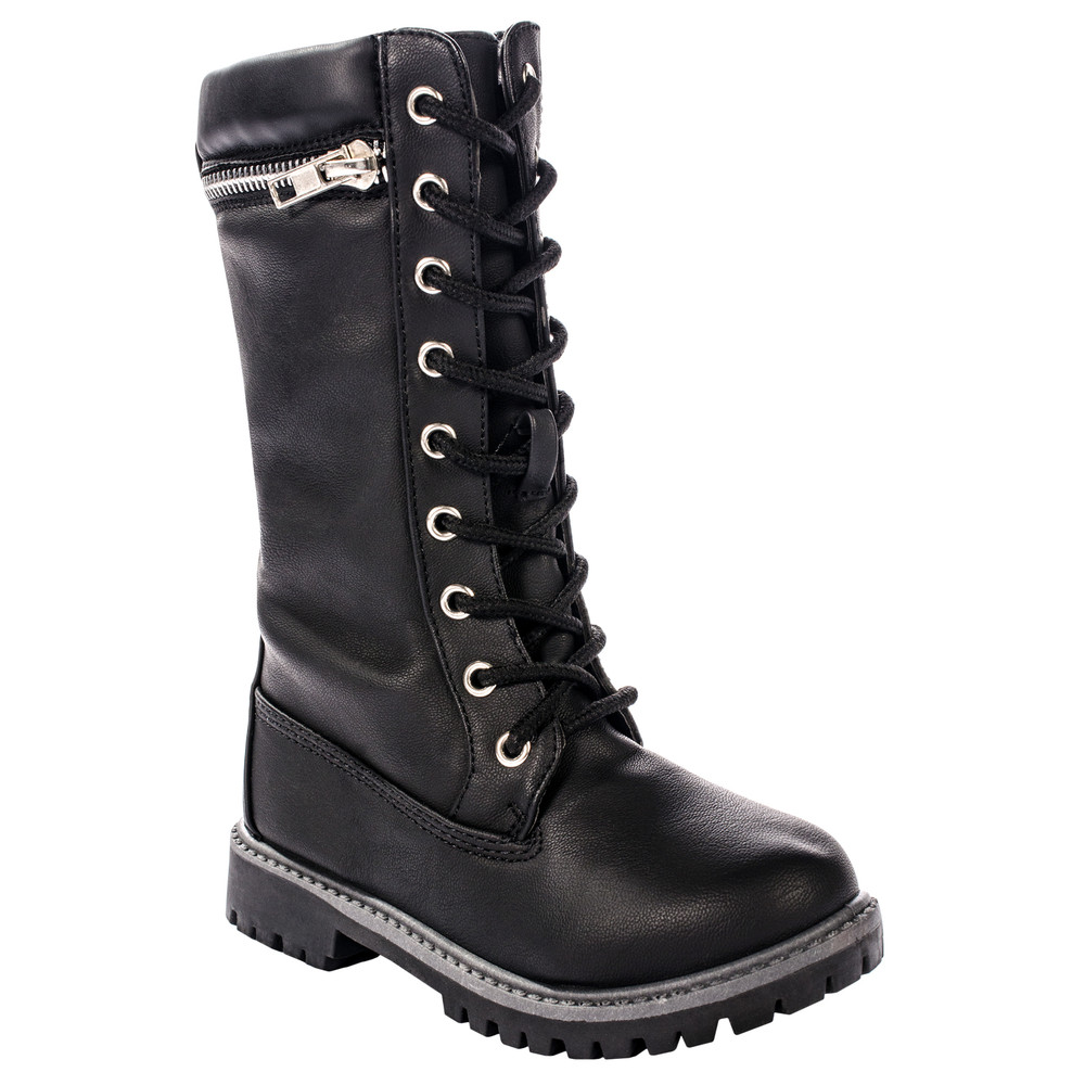Anna Dallas 17K Girls Lug Sole Lace Up Zip Ankle High Hiking Boots w/ Top Zipper