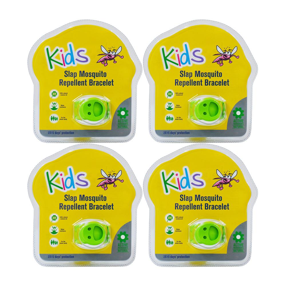 Slap 4 Pack Mosquito Repellent Smiley Bracelet w/ Two Refill Pellets