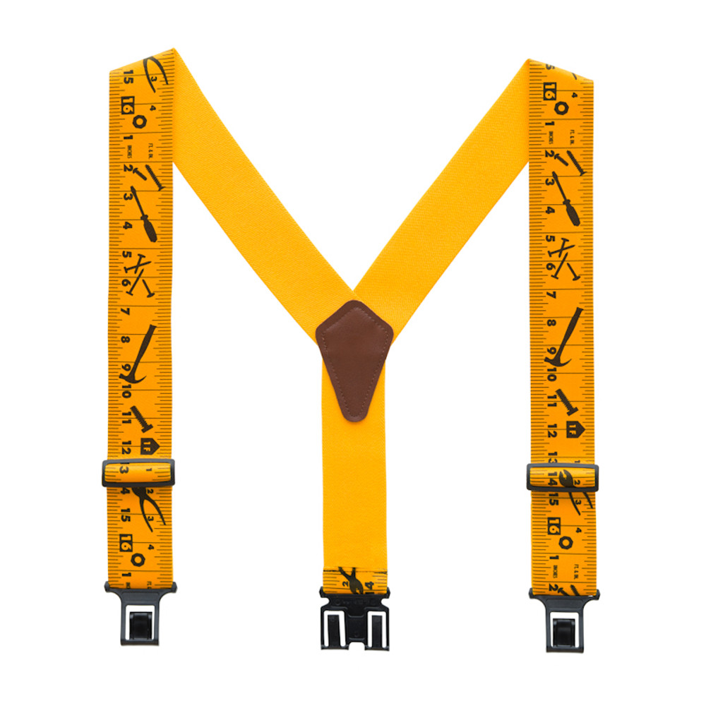 """Perry 2"""" Big & Tall Clip-On Hook End Belt Suspender w/ Yellow Tape Measure Print"""