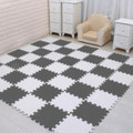 Children Puzzle mat Play mat Squares Foam Playmat Tiles Gray White Black