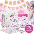 Unicorn Party Supplies Birthday Set Sash Balloon Banner Plates Cups Napkins Straws 16 Pack