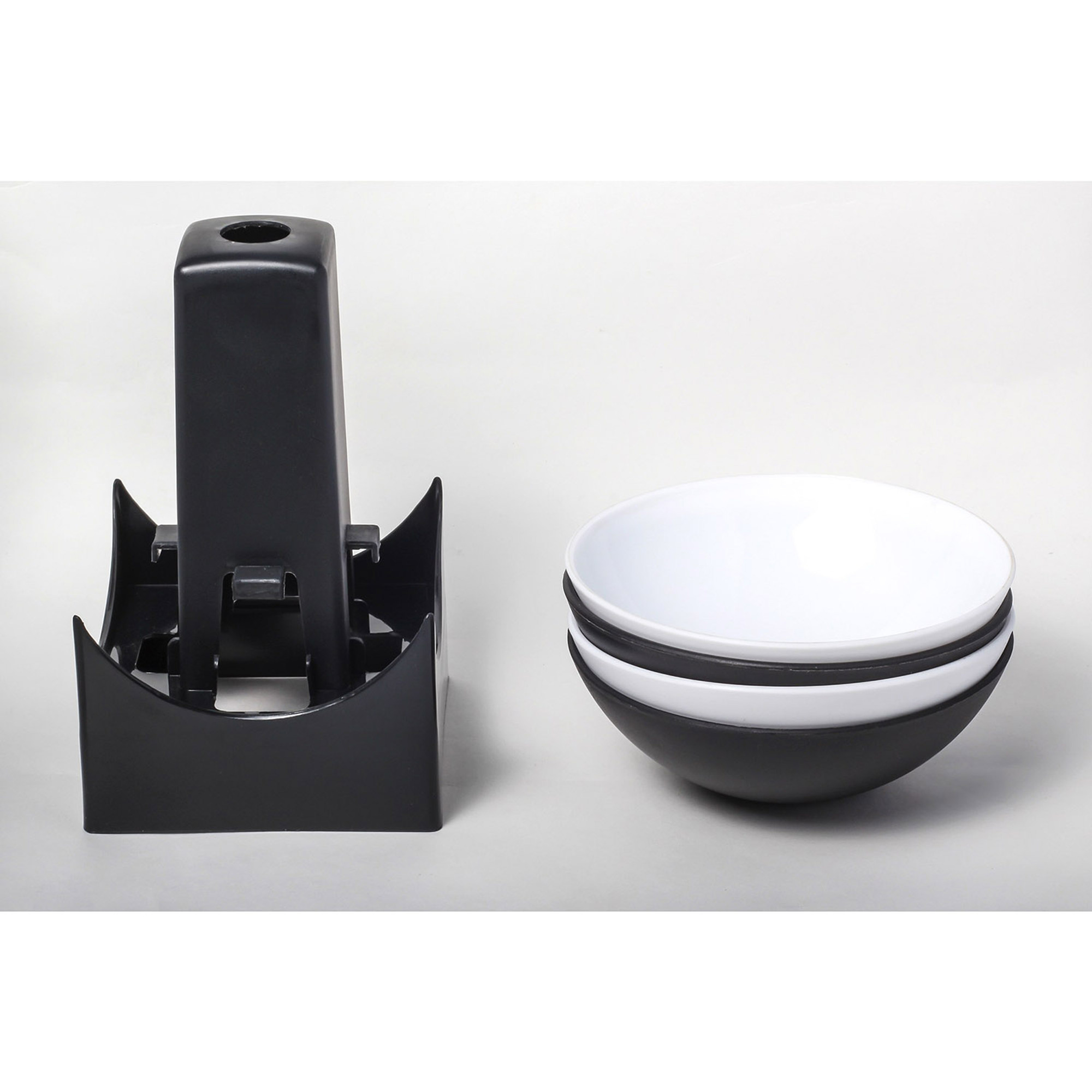 Innovative Living Sports Party Serving Bowls 2 Black 2 White Bowls And Stand