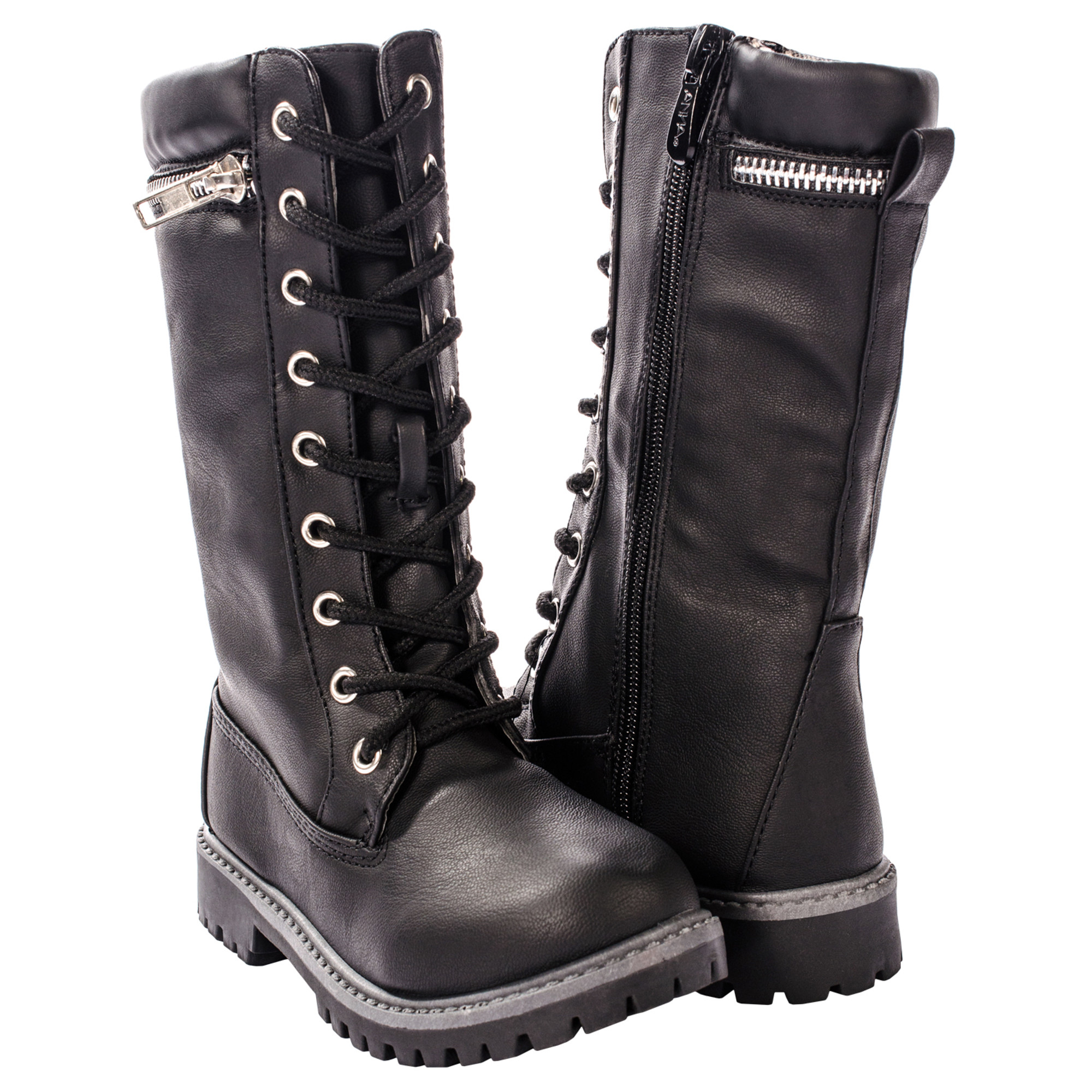 5dbe9b10507 Anna Dallas 17K Girls Lug Sole Lace Up Zip Ankle High Hiking Boots w/ Top  Zipper