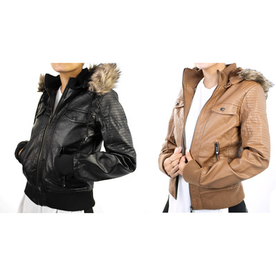 Altatac Women's Faux Leather Motorcycle Jacket with Faux Fur Hood