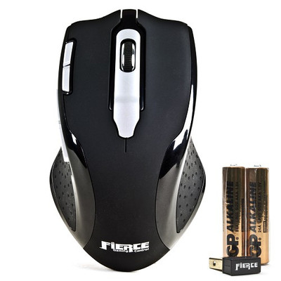Rude Gameware Fierce 3500 8-Button Wireless Optical Scroll Gaming Mouse - Black