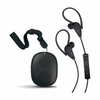 iSound 2-in-1 Wireless Bluetooth Stereo Earbuds and Speaker Kit Bundle - Black