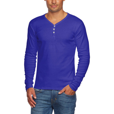 Alta Men's Slim Fit V Neck Long Sleeve 3 Button Up T-Shirt - Blue - Small