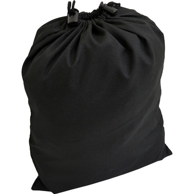 "Black Polyester Drawstring Bag w/ Dual Push Button Cord Clasps (18"" x 12.5"")"