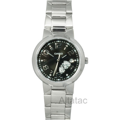 Casio LTP-1292D-1A Women's Silver Analog Fashion Watch w/ Black Rose Dial & Date