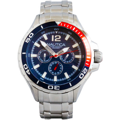 Nautica Classic Stainless Steel Analog Watch w/ Enamel Bezel - Blue - N22616G