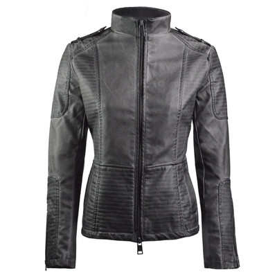 Alta Women's Motorcycle Faux Leather Jacket Quilted Lining Zip Up