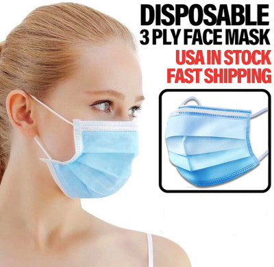 Face Mask with Ear Loop, 3 Ply