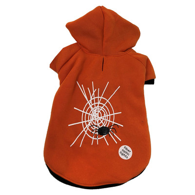 Petco Bootique Light Up Web Orange Hoodie Sweater for Dogs - Medium