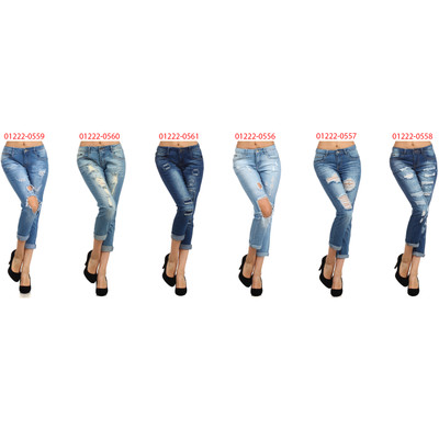 Bonage Fashion Women's Distressed Denim Blue Jeans - Multiple Styles and Sizes