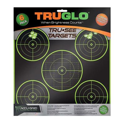 """Truglo TG11A6 Tru-See Target 12""""X12"""" 5-Bullseye Green Self-adhesive 6 Targets 2 Pack"""