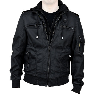 Alta Premium Designer Men's Black Faux Leather Jacket With Hoodie, M6, L