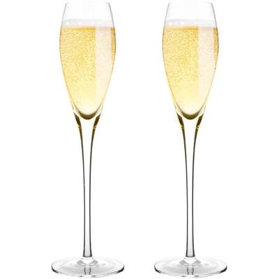 "Bella Vino 10.5"", 7 Oz Set of 2 or 4 Hand Premium Blown Crystal Champagne Flutes"