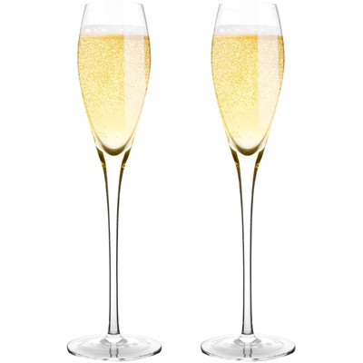 "Bella Vino 10.5"", 7 Oz, Set of 2 Hand Premium Blown Crystal Champagne Flutes"