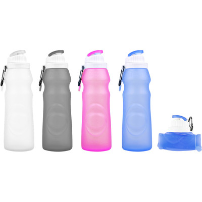 Foldable Portable Silicone Water Bottle PA Free Non-Toxic - 17 oz. 500 ml