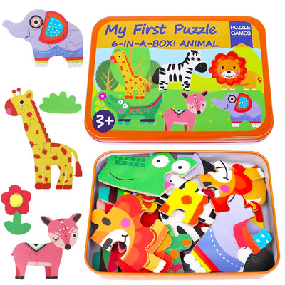 Educational Animal Puzzles Jigsaw Games 6 in a Box Puzzle for Kids Ages 2-6