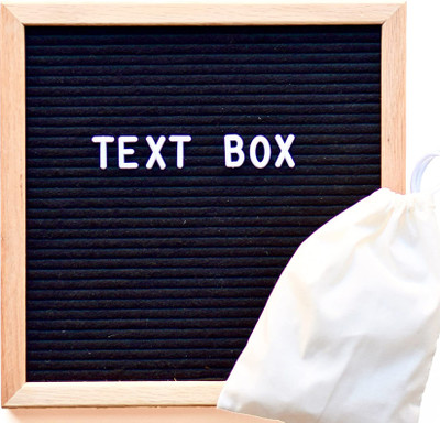 "Felt Letter Board 12""x12"" Black Frame 300 White Letters/Numbers - Text Box"