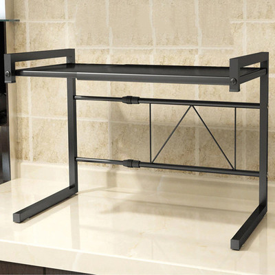 Microwave oven rack, Retractable microwave oven rack shelf Kitchen counter-Black