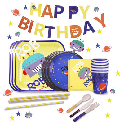 Disposable Dinnerware Set Robot Kids Space or Gold Foil Birthday Party Supplies