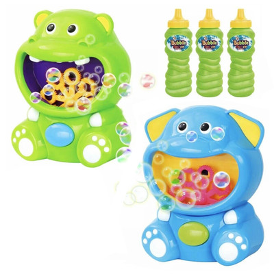 Automatic Bubble Maker, 2 Pack, Hippo and Elephant, Three 8 OZ Bubble Solution